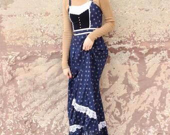 1970s Floral Gunne Sax Prairie Dress