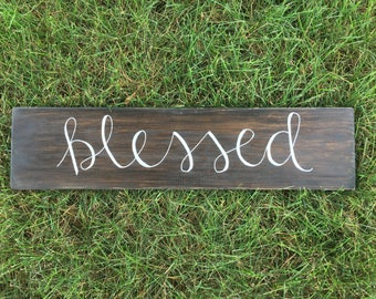Large Blessed Handmade Sign | Blessed Handlettered Sign | Blessed | Custom Sign | Free Shipping