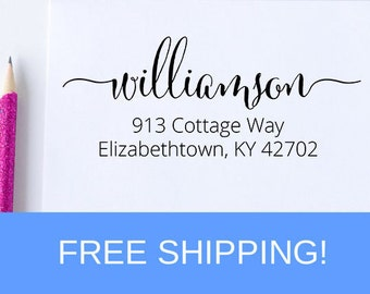 Custom Self Inking Return Address Stamp, Calligraphy Fancy Swashes Stamp, Self Inking Stamp, Gift For Her, Stamp For Invitations  (D209)