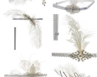 Linda Ann's Bulk Listing for white Headbands/clips,12 pk. Assortment