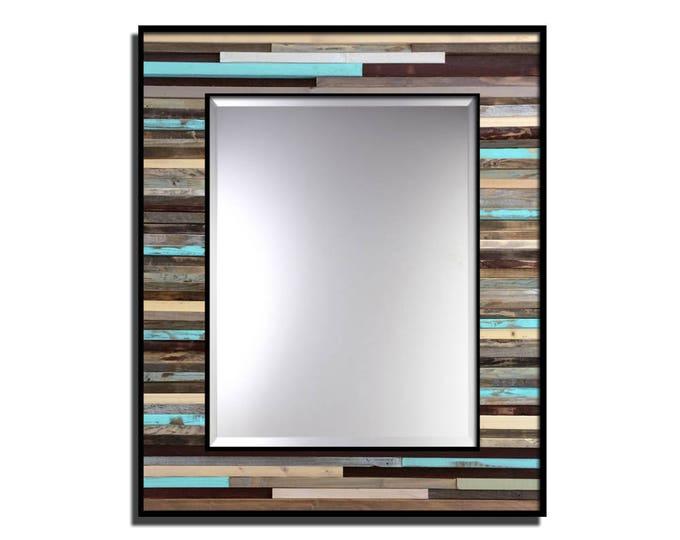 "Reclaimed Wood Framed Mirror - ""Reclaimed Reflection"" - 34"" x 40"" - Modern Wood Wall Art - Reclaimed Wood Mirror"