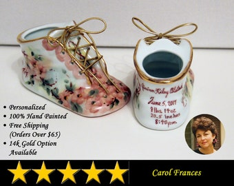 Porcelain Baby Shoe - Personalized Baby Girl Bootie - 100% Hand Painted Ceramic Baby Shoe Keepsake