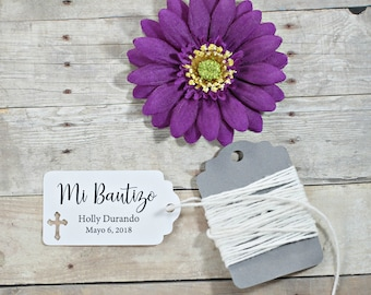 White Baptism Tags 20pc - Mi Bautizo - Thank You Tags for Baptism- White Catholic Favor Tags - Christian Party Favor Tags