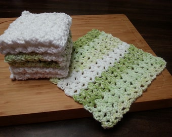 Crocheted Cotton Dishcloths, Set of 4, Green Stripe, White, Crochet Dishrag, Housewarming Gift, Kitchen Dishcloth