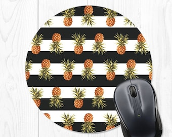 Pineapple Mouse pad - Striped Mouse pad - Pineapple Mousepad - Striped Mousepad - Black Mouse pad - Black Mousepad - Pineapple Mouse Mat