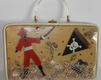 50s Pirate Purse Rare Novelty Handbag Unqiue Unusual Find Wicker Lucite Gem