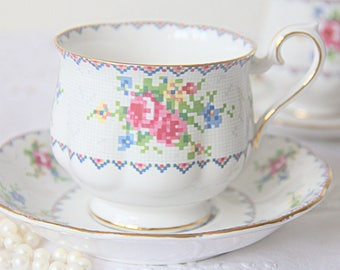 Vintage Royal Albert 'Petit Point' Gentleman Size Cup and Saucer, Forget-Me-Not and Pink Rose Decor, England