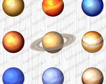 9 Solar system, Planets clipart,asteroid clipart,UFO clipart,moon clipart,satellite clipart,stars clipart,comets clipart,cosmos clipart