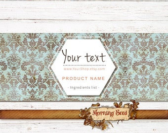Soap labels in damask - Measures 2 x 8in - Vintage wrapper template Instant download Candle band