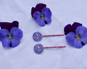 Cute purple button hairpins