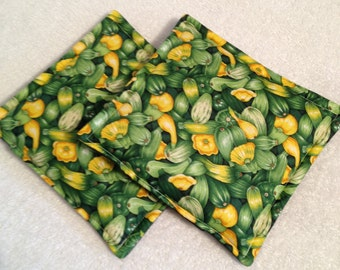 Squash Print Potholders set of 2