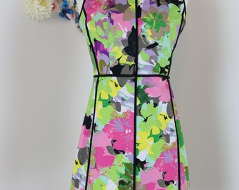 1990s Dress - Floral Summer Sleeveless Dress - Fitted - Neon - Black Trim Detailing - Calvin Klein - Size 4 Extra Small
