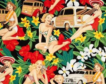 "Pin-up ALOHA GIRLS 1 Valance or Panel Cotton Hawaiiana  Print  style curtain 14"" 18"" 24"" 32"" Long, Custom"