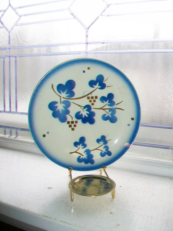 Set of 5 Vintage Dessert Plates Blue and White China