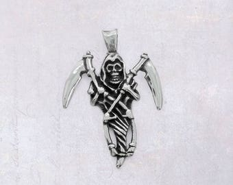 Stainless Steel Death Pendant - Grim Reaper Holding Two Scythes