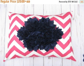 15% Off Sale Pink Pillow, Girls Room Decor, Pink and Navy ,Floral Pillow, Flower Pillow cover Decorative Pillows Accent Pillow - Cushion Cov
