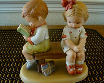 """Memories of Yesterday """"Should I....?"""" figurine boy and girl 1988 Enesco Lucie Attwell collectible"""