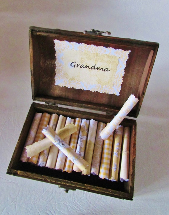 I Love Grandma Scroll Box, Beautiful Wood Chest Filled with the Best Quotes About Grandmas, Unique, Personalized, Christmas, Birthday, Gift