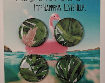Tropical Leaves and Flower Magnet Set