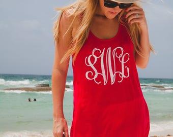 Monogrammed racerback tank dress/sun dress/swimsuit cover up/casual dress