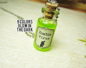 Zombie Virus 2ml Glass Bottle Necklace Charm - Walking Dead Cork Vial Pendant - Halloween Goth Cure