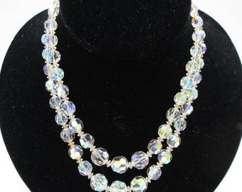 Vintage Double Strand Crystal Choker - Vintage Adjustable Double Strand Aurora Borealis Crystal Necklace