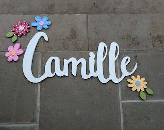 Les filles personnalisées nom signe et fleur Decor - nom signe ensemble - fleur décoration murale - fleurs murale en bois