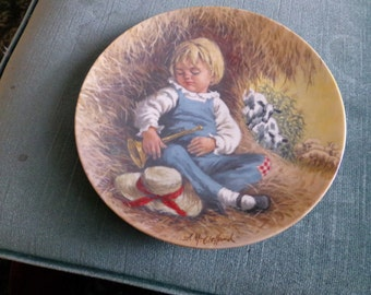 """Mother Goose Series Plate Little Boy Blue John McClelland Reco 1980 2nd edition plate, """"Little Blue Boy"""" plate collectible plate"""