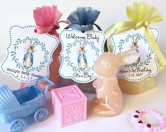 Peter Rabbit Baby Shower Party Favors | Bunny Candle Personalized Thank You Gift | Baby's First Birthday | One Year Welcome Boy Girl
