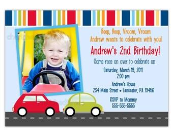 Lilttle Cars, Trucks or Any Vehicle Photo Birthday Invitation (You Print)