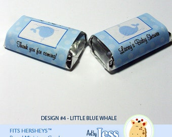 Little Blue Whale Mini Candy Wrapper Stickers, Personalized Hershey Miniature Stickers
