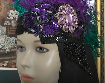 Gatsby headpiece/1920s headpiece/Flapper headpiece/Rhinestone/Sequined headpiece/Wedding headpiece/hair accessories/Hair jewelry/Jewel
