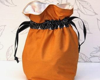 Mustard & Black Knitting Bag, Knitting Project Bag, Shawl Project Bag, Crochet Drawstring Bag, Knitting Gift,