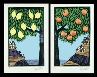 linocuts, set of 2, lemon art, oranges art, fruit tree prints, landscape art print, garden wall print, printmaking, tree art, tree print