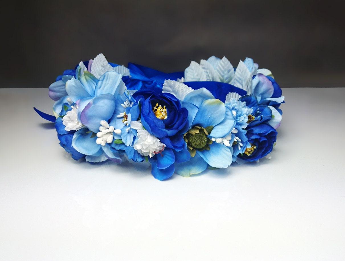 Blue flower crown wreath artificial flowers wedding royal blue blue flower crown wreath artificial flowers wedding royal blue fresh trendy satin ribbon flower girl bride delicate romantic boho natural izmirmasajfo Gallery
