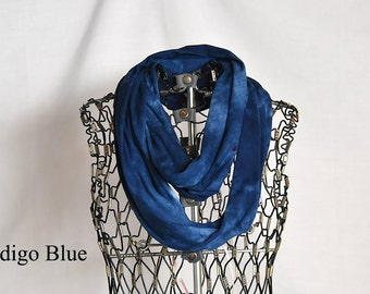 Indigo Blue Infinity Scarf-Cotton Jersey Scarf-Marble Abstract Scarf-Circle Scarf