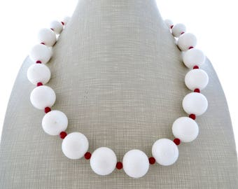 White and red coral necklace, big bold necklace, chunky stone choker, summer necklace, beaded necklace, contemporary jewelry, wedding bijoux