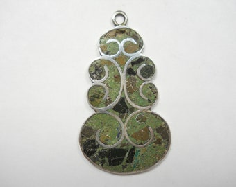 Vintage  Taxo Mexico Mosaic Crushed Stone Inlay Unique Swirled Design Sterling Silver Pendant
