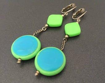Neon Green and Blue Clip Earrings, Vintage Mod Jewelry, Bright Multi Color Jewelry, Summer Jewelry, Mod Jewelry, Drop Earrings