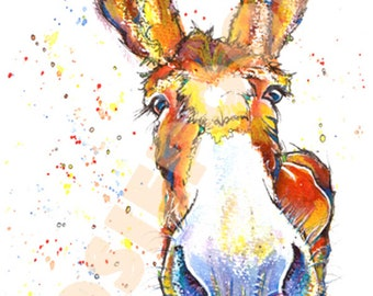 DONKEY PRINT Painting Jack Ass Picture Burro of Original Watercolour Painting Watercolor Animal Picture Art by Josie P.
