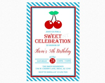 Cherry Birthday Party Invitation, Sweet Cherry Birthday Party Invitation, Red, Blue, Personalized, Printable File or Printed Invitations