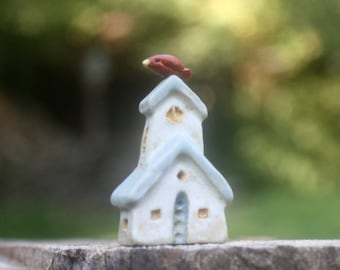 miniature house/church with redbird, OOAK carved stoneware