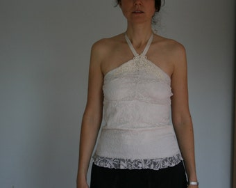 Vintage White Lace Top Halter Top Embroidered Bodycon Small Medium