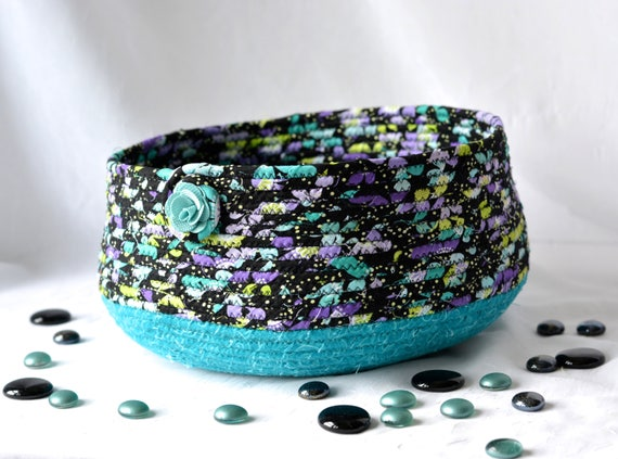 Cozy Cat Bed, Hand Coiled Pet Bed, Green Fabric Basket, Dog Bed Furniture, Handmade Teal and Black Storage Organizer Bin Rack
