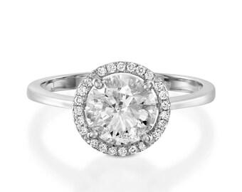 Moissanite halo Engagement Ring-2 ct Moissanite ring-White Gold Ring-Engagement Ring-promise ring-halo diamond engagement ring- For her