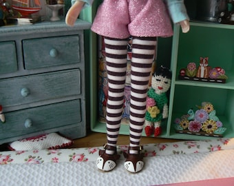 Blythe clothes cream and brown stripe over the knee Blythe cotton socks handmade in Paris France