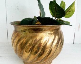 Ribbed Brass Planter
