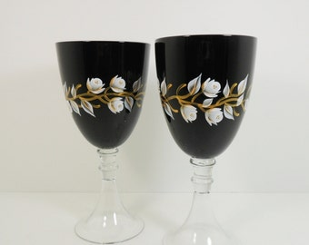 Wine Glasses Hand Painted Black Wine Glasses White Gold Rose Flower Buds Set of 2