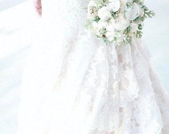 Alternative Wedding Bouquet - Luxe Collection Medium Ivory Dusty Miller Raw Cotton Keepsake Bouquet, Sola Bouquet, Rustic Wedding