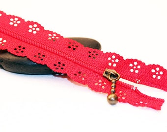 Red ♥ ♥ set of 2 zippers zip lace 20 cm